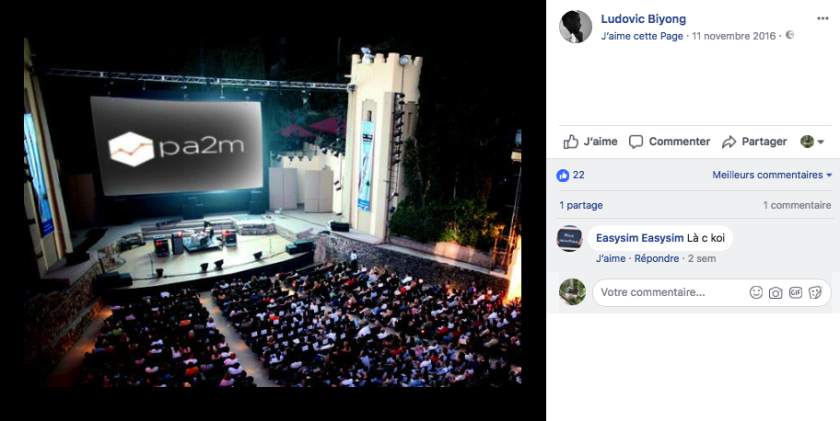 Page-Facebook-Ludovic-Biyong-publication-d%u2019un-photomontage-mettant-le-logo-de-PA2M.-Capture-ecran